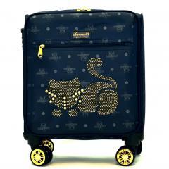 Originální dámský/dívčí kufr Sammao, modrá, malý, M1129-4 blue