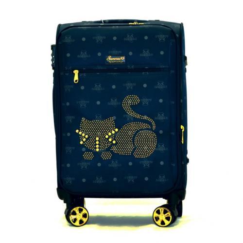 Originální dámský/dívčí kufr Sammao, modrá, střední, M1129-3 blue
